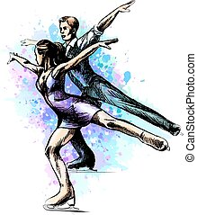Abstract winter sport Figure skating young couple skaters from splash of watercolors
