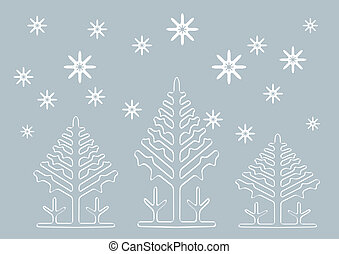 Abstract winter vector background with Christmas tree shapes.