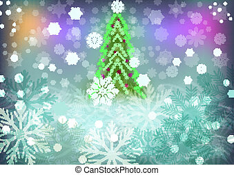 Abstract winter vector background with green Christmas tree.