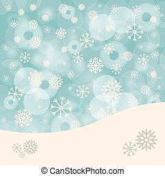 Abstract Winter Vector Background with Snowflakes and Bokeh Blurred Background