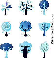 abstract, winter, vector, bomen, set, vrijstaand, op wit