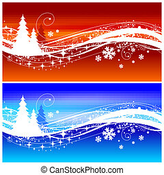 Abstract winter vector landscape with Christmas trees