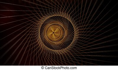 Abstract wire tunnel in gold