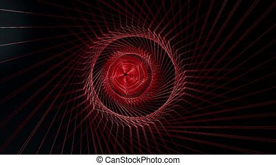 Abstract wire tunnel in red