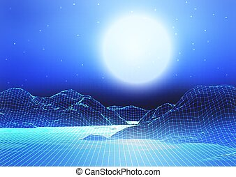 abstract wireframe landscape with moon and starry sky 2802