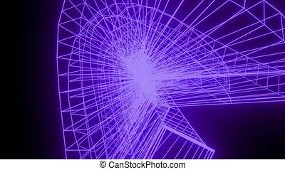 Abstract wireframe purple object on black background in rotation motion, HUD Video, 3d animated graphics, blender render