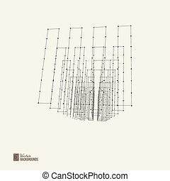 Abstract wireframe with dots and lines.