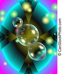 Abstract with bubbles - Blue, purple and black abstract with...