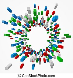 abstract with colorful cubes shot from center. 3d style vector illustration