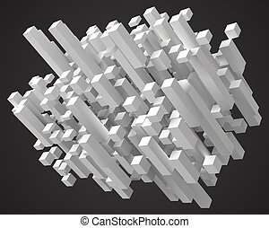 abstract with deformed cubes. diagonal version. 3d style vector illustration