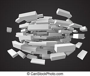 abstract with deformed cubes on black. 3d style vector illustration