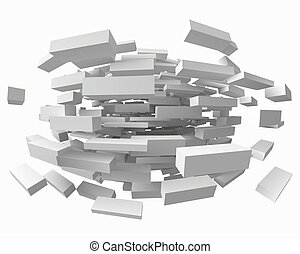 abstract with deformed cubes on white. 3d style vector illustration