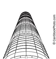 abstract, wolkenkrabber, bouw
