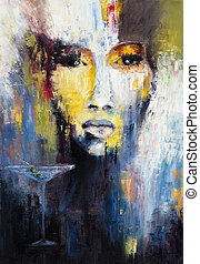 Abstract woman - Abstract painting of a woman and martini ...