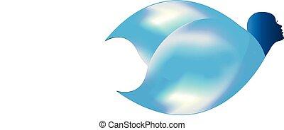 Abstract woman blue head vector