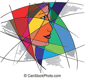 Abstract woman face. Vector illustration