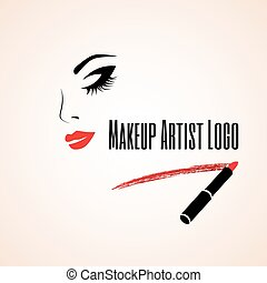 Abstract woman face with closed eye. Trace of lipstick. ...