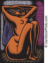 abstract woman - illustrated abstract sexy woman as...