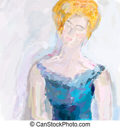 Abstract woman painting pastel colored