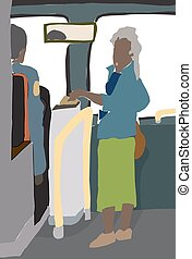 Abstract Woman Paying for Bus Ride