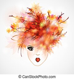 woman silhouette, abstract hair