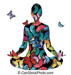 Abstract woman silhouette in yoga pose with butterflies