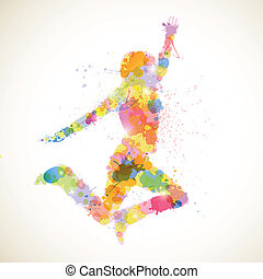 Abstract Woman - Vector Illustration of an Abstract jumping...