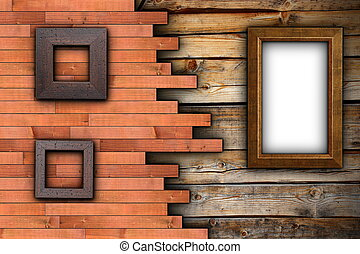 abstract wood backdrop with frames