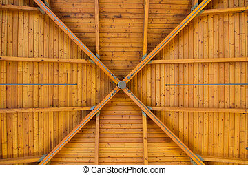 Abstract Wood Pattern on High Ceiling