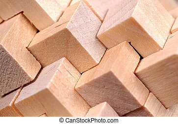 Abstract Wood Pattern - Abstract Wooden Cube Pattern