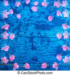 Abstract wood texture background and sakura pattern with watercolor painting.