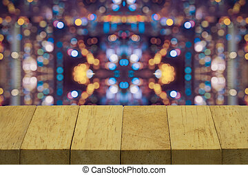 abstract wood top on blur with varity light bokeh