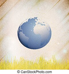 Abstract wooden background of globe with grass, vector illustration