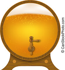Abstract wooden barrel of beer. Vector illustration