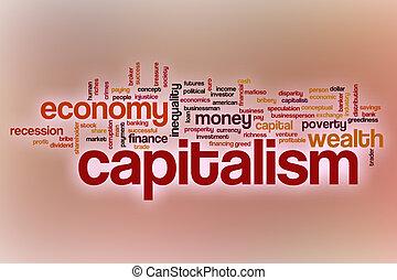 abstract, woord, wolk, achtergrond, kapitalisme