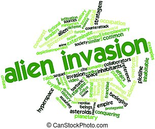 Abstract word cloud for Alien invasion with related tags and terms