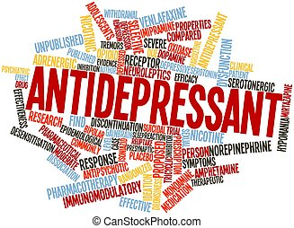 Antidepressant - Abstract word cloud for Antidepressant with...