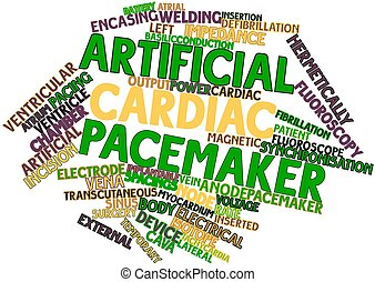 Artificial cardiac pacemaker - Abstract word cloud for...