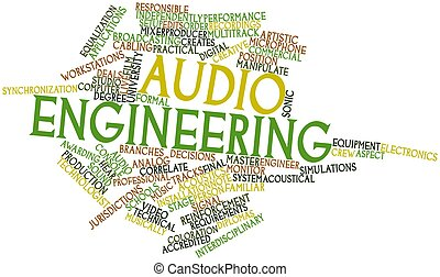 Abstract word cloud for Audio engineering with related tags and terms