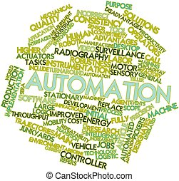 Abstract word cloud for Automation with related tags and terms