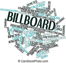 Abstract word cloud for Billboard with related tags and terms