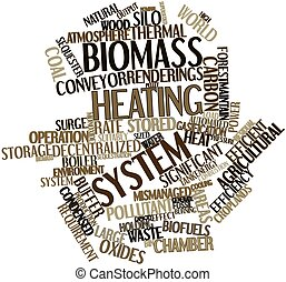 Biomass heating system - Abstract word cloud for Biomass...