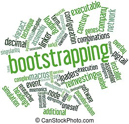 Bootstrapping - Abstract word cloud for Bootstrapping with...
