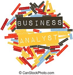 Abstract word cloud for Business analyst with related tags and terms