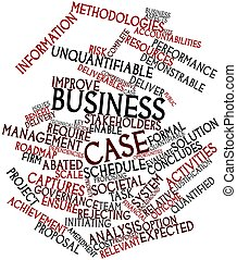 Abstract word cloud for Business case with related tags and terms