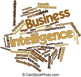 Abstract word cloud for Business intelligence with related tags and terms