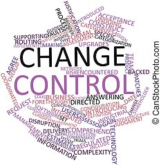 Change control - Abstract word cloud for Change control with...