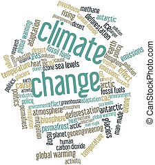 Climate Change - Abstract word cloud for Climate Change with...