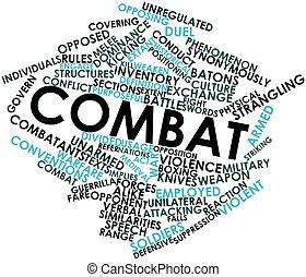 Combat - Abstract word cloud for Combat with related tags...