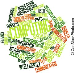 Computing - Abstract word cloud for Computing with related...